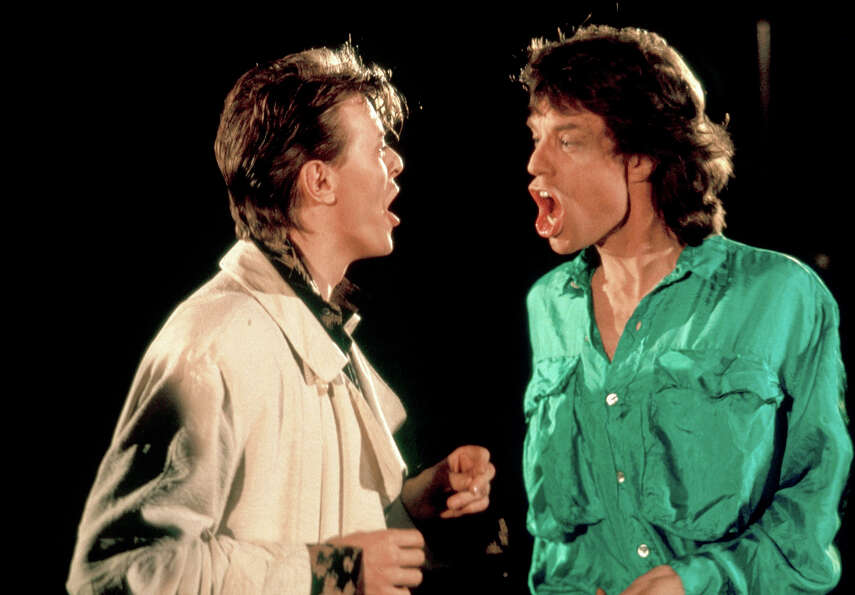 David Bowie and Mick Jagger performing in the video for