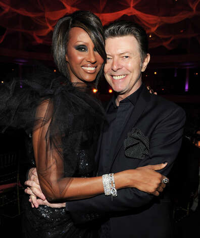 Iman and David Bowie at Hammerstein Ballroom during Keep A Child Alive's 6th Annual Black Ball hosted by Alicia Keys and Padma Lakshmi in 2009 in New York City. Photo: Kevin Mazur, Getty Images / 2009 Kevin Mazur
