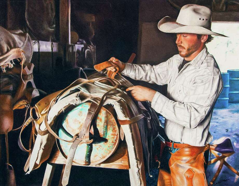 "Denisse Molina, a sophomore from Pasadena ISD, took the Grand Champion Best of Show title with ""Stowing the Riggins."" Her color drawing captured a cowboy preparing his saddle for a day's work. Photo: Courtesy Photo"