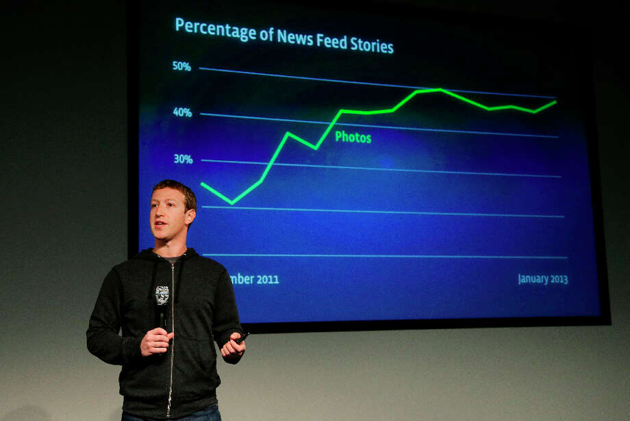 Facebook CEO Mark Zuckerberg speaks at Facebook headquarters in Menlo Park on Thursday. He unveiled a new look for the social network's News Feed, the place where its 1 billion users congregate to see what's happening with their friends, family and favorite businesses. Photo: Jeff Chiu, Associated Press / AP