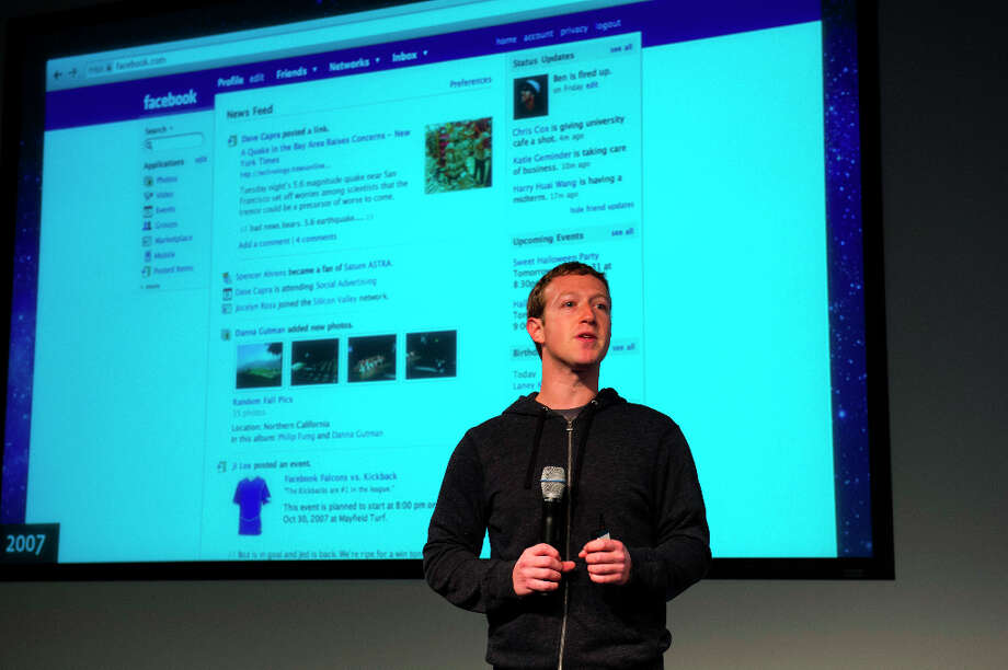 Mark Zuckerberg, chief executive officer and founder of Facebook Inc., speaks during an event at the company's headquarters in Menlo Park about the social-network  site's upgraded News Feed which includes bigger photos, information sorted into topics and a more consistent design across devices. Photo: David Paul Morris, Bloomberg / © 2013 Bloomberg Finance LP