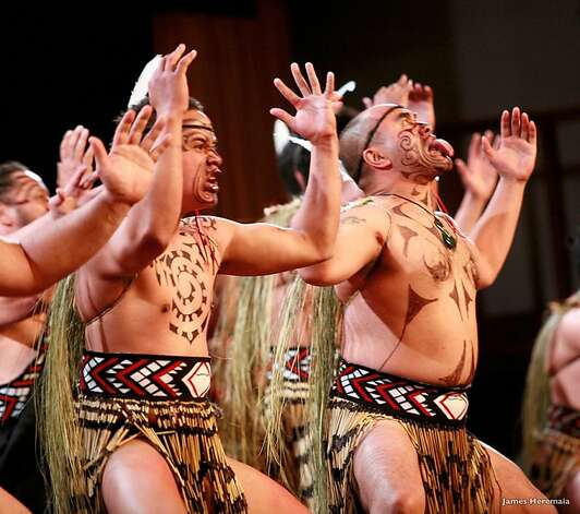 The Maori chant/dance known as the haka has several different forms, but all serve to build unity in the performers and communicate a warning or challenge to enemies, or a message of celebration when performed for friends. The haka gained world renown due to its frequent performances by New Zealand's All Blacks rugby team, and has been adopted by the University of Hawaii's football team, among others. Photo: James Heremaia