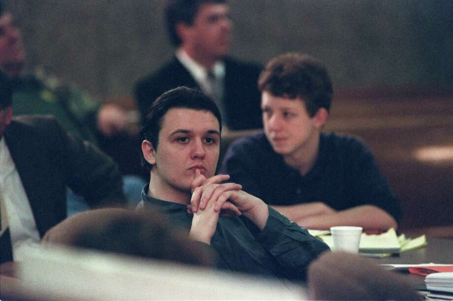 March 2, 1994 - Damien Echols (foreground) and Jason Baldwin during their trial in Jonesboro, Ark. A forensic pathologist called by the state testified under cross-examination that, in his opinion, the boys died between 1 a.m. and 5 a.m. on May 6, but it differed from testimony at co-defendant Jessie Lloyd Misskelley's trial in Corning. There, the same pathologist, Dr. Frank J. Peretti, said he could not give an opinion on the time of death. (By Lisa Waddell / The Commercial Appeal) Photo: Lisa Waddell