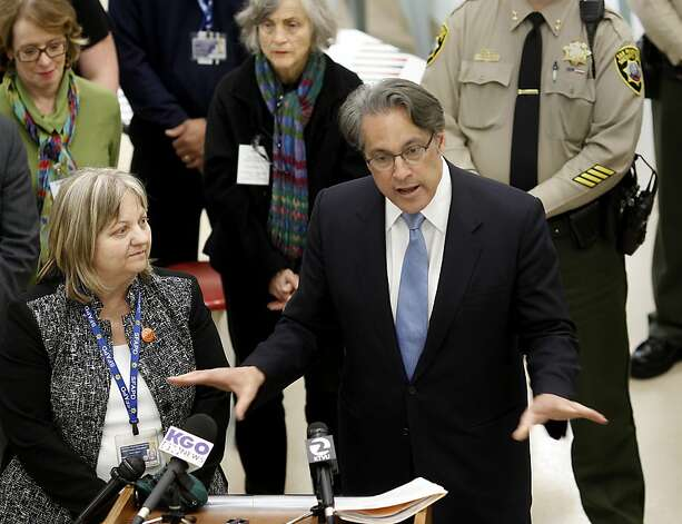 "Probation officer Wendy Still (left) listened as Sheriff Ross Mirkarimi discussed the new jail pod Tuesday February 26, 2013. San Francisco Sheriff Ross Mirkarimi and Chief Adult Probation Officer Wendy Still introduced the ""Reentry Pod"", a collaborative effort to improve public safety and reduce recidivism by placing inmates in a more modern,  community based environment for their final months in jail. Photo: Brant Ward, The Chronicle"
