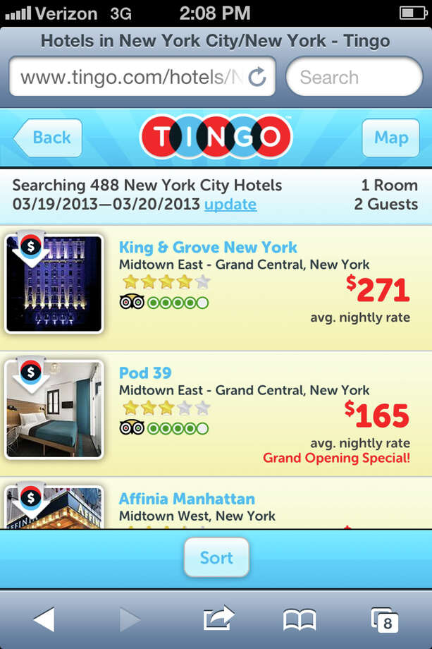 This screen image released by Smarter Travel Media shows an image from the Tingo mobile app. Tingo is one of a growing number of services that aim to save travelers money on their hotel stays. The site, which is owned by TripAdvisor, says that travelers have a 20-percent chance of getting at least some money back. The typical rebate is $50, according to the company, but occasionally travelers like Eisen get much more back.   (AP Photo/Smarter Travel Media)