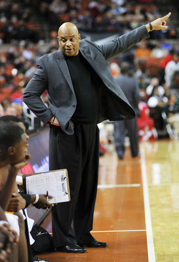 Yates head coach Gregory Wise during the UIL 3A semi final boys basketball game between Houston Yates and Royal high schools on Thurs., March 7, 2013 at the Frank Erwin Center in Austin, TX.