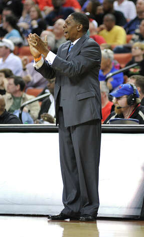 Royal head coach Reggie Gibbs during the UIL 3A semi final boys basketball game between Houston Yates and Royal high schools on Thurs., March 7, 2013 at the Frank Erwin Center in Austin, TX.