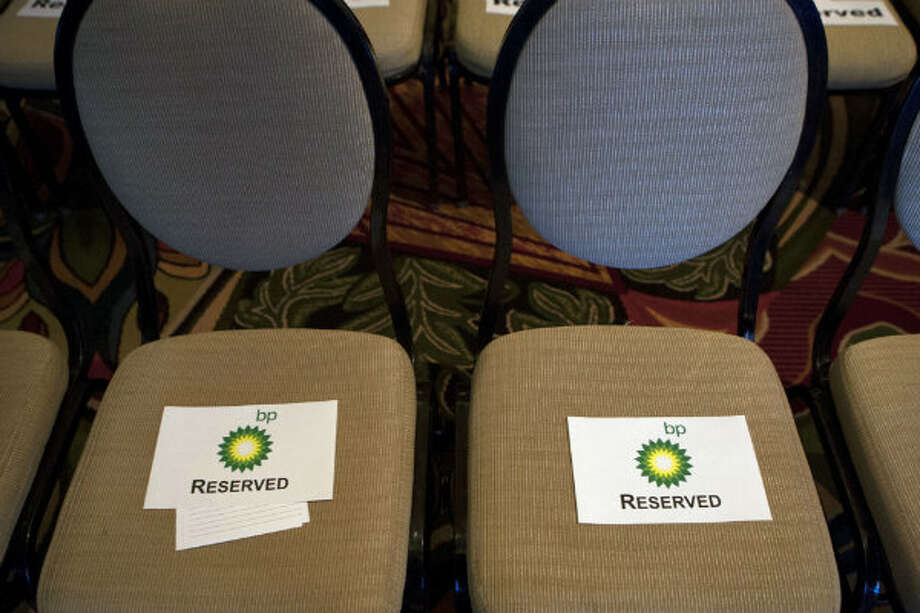 Seats are reserved before Bob Dudley, group chief executive at BP spoke at IHS CERAWeek 2013 at the Hilton Americas Wednesday, March 6, 2013, in Houston.