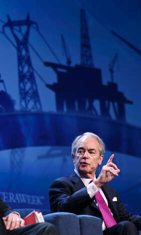 James Rogers, Chairman, President & CEO, Duke Energy, says consolidating energy is done in waves IHS CeraWeek 2013, Thursday, March 7, 2013, in the Americas Hilton Houston in Houston.
