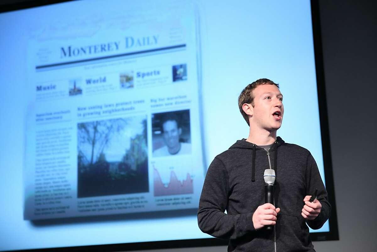 Mark Zuckerberg announces a redesign of Facebook's News Feed, Thursday, March 7, 2013 in Menlo Park, Calif.