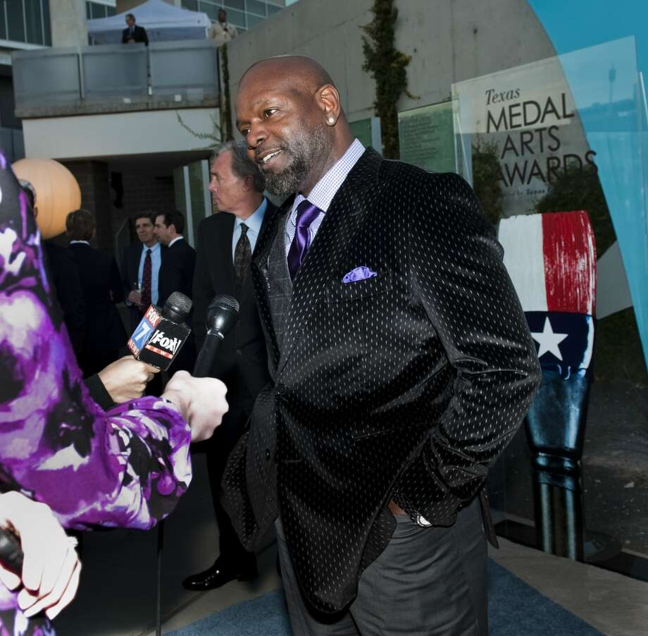 Retired NFL runningback Emmitt Smith is interviewed on the red carpet of the 2013 Texas Medal of Arts gala on Tues., March 5, 2013 at the Long Center in Austin, TX.  Gene Jones and her daughter, Charlotte Jones Anderson, received the Indiviual Art Patron Award.Ashley Landis for the Houston Chronicle