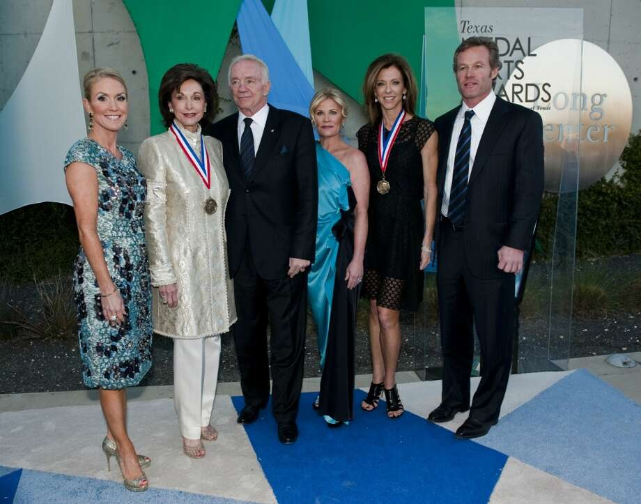 From left, Texas Arts Awards co-chair Marita Fairbanks, honoree Gene Jones, Cowboys owner Jerry Jones, Texas Arts Awards co-chair Kelli Blanton, honoree Charlotte Jones Anderson, and her husband, Shy Anderson on the red carpet of the 2013 Texas Medal of Arts gala on Tues., March 5, 2013 at the Long Center in Austin, TX.  Gene Jones and her daughter, Charlotte Anderson Jones, were honored with the Individual Art Patron Award.Ashley Landis for the Houston Chronicle