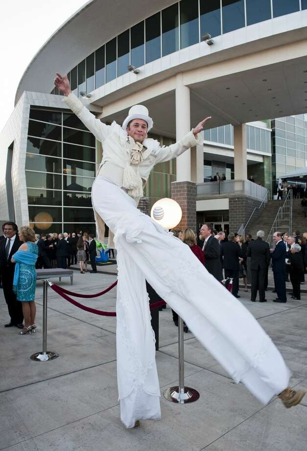 Street performer Chad Rittenberry dances outside the 2013 Texas Medal of Arts gala on Tues., March 5, 2013 at the Long Center in Austin, TX.Ashley Landis for the Houston Chronicle