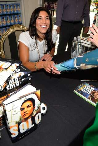 Olympic soccer player Hope Solo attends a her book signing at the Sugar Factory at the Paris Las Vegas on September 28, 2012 in Las Vegas, Nevada.