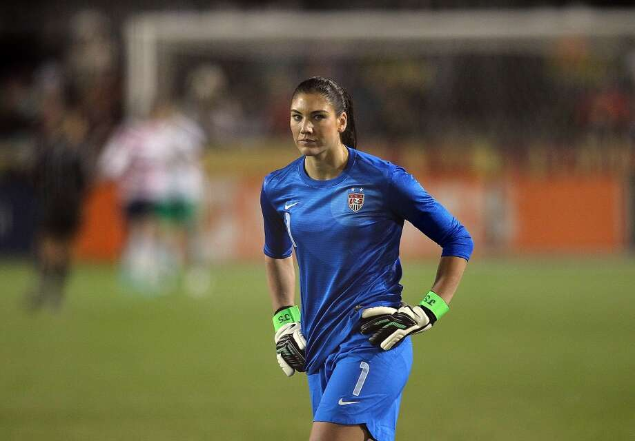 Goalkeeper Hope Solo of the United States wears wrist bands with the initials ''JS,'' for her husband Jeremy Stevens, during a game against Ireland on November 28, 2012, at Jeld-Wen Field in Portland, Oregon.