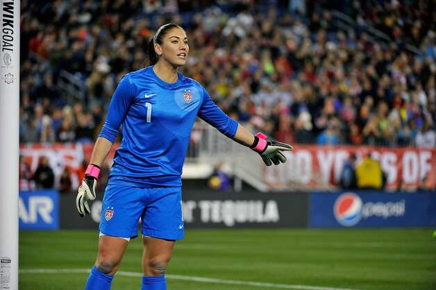 Goalkeeper Hope Solo of the U.S. Women's National Team plays against the Scotland Women's National Team at LP Field on February 13, 2013, in Nashville, Tennessee.