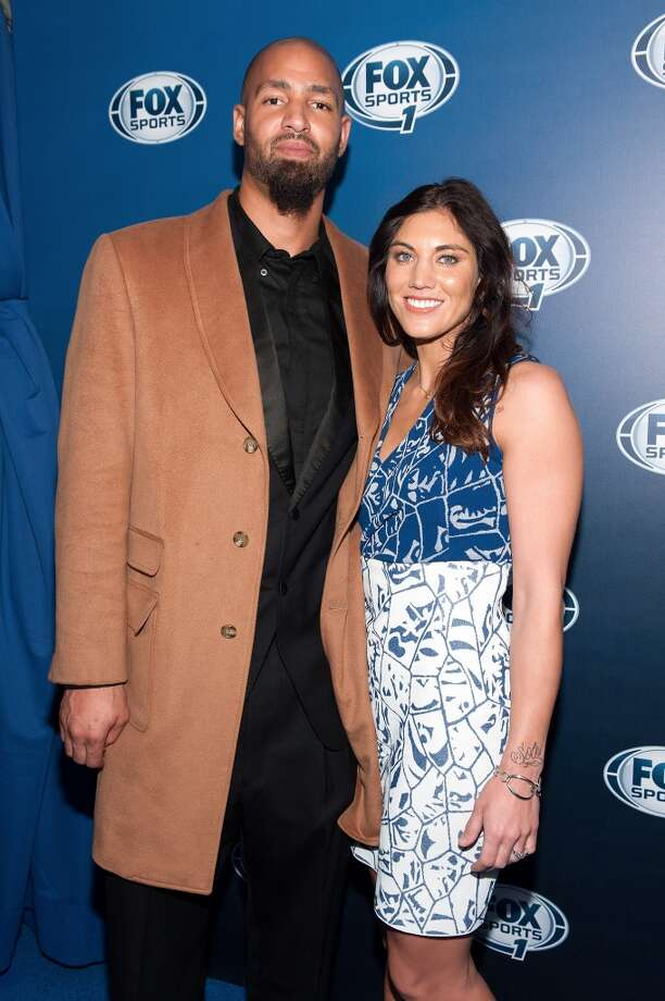 Hope Solo and husband, Jerramy Stevens, attend the 2013 Fox Sports Media Group Upfront at Roseland Ballroom on March 5, 2013, in New York City.