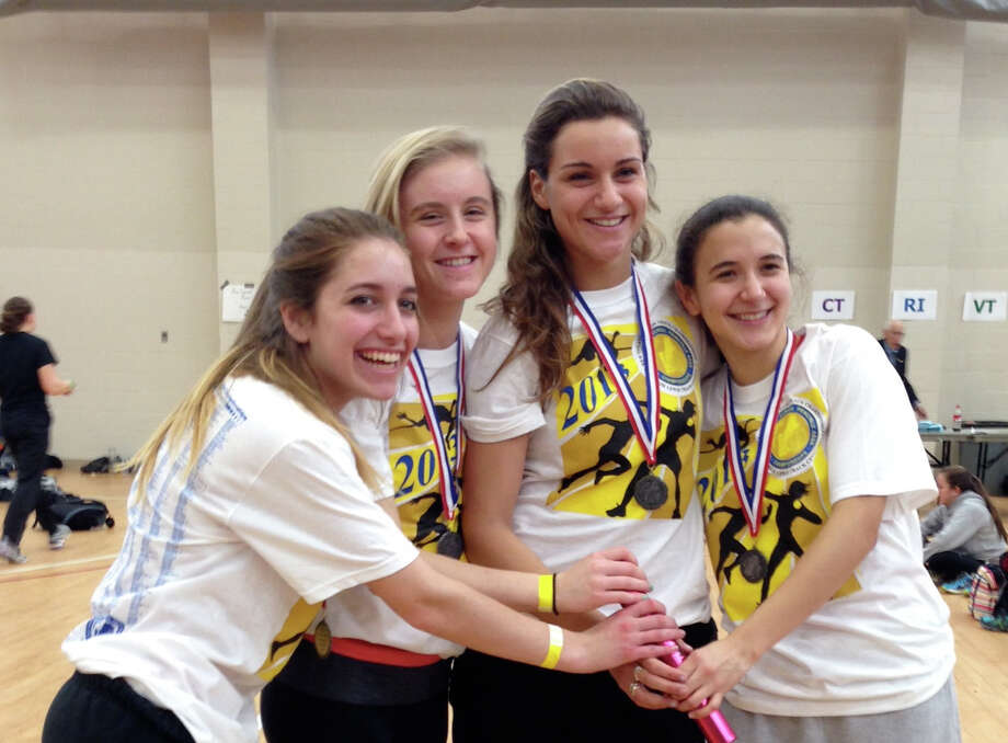 The Greenwich High 4x200 relay team of Lindsey Noskin, Anna Black, Namoi Leeds and Isabella Navarez placed second at the New England Indoor Track Championships this past weekend. Photo: Contributed Photo