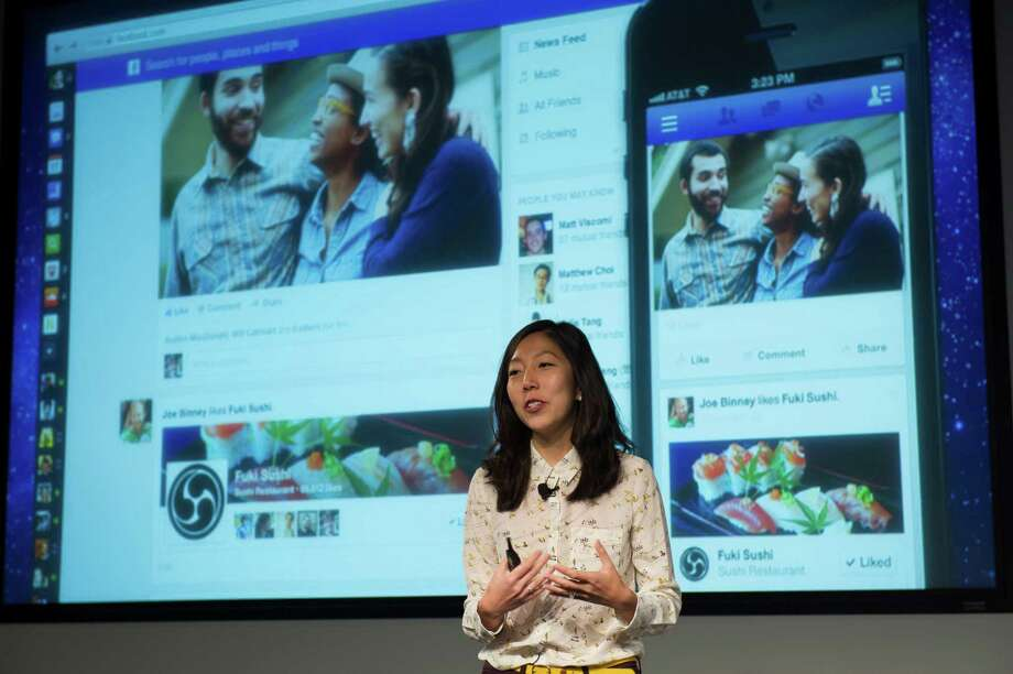 "Julie Zhuo, Facebook's design director, says the site is ""taking these photos and putting them front and center."" Photo: David Paul Morris / © 2013 Bloomberg Finance LP"