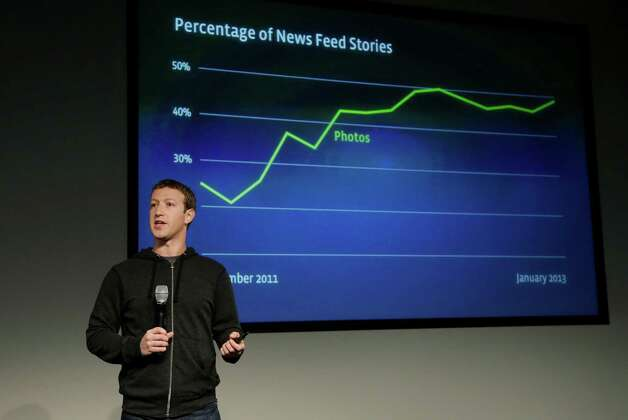Facebook CEO Mark Zuckerberg speaks at Facebook headquarters in Menlo Park, Calif., Thursday, March 7, 2013. Zuckerberg on Thursday unveiled a new look for the social network's News Feed, the place where its 1 billion users congregate to see what's happening with their friends, family and favorite businesses.(AP Photo/Jeff Chiu) Photo: Jeff Chiu