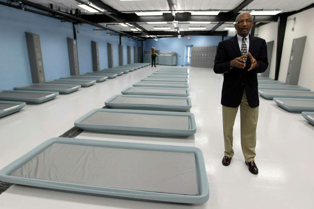 Leonard Kincaid, director of the Houston Center for Sobriety, gives a tour of the new men's facility in the