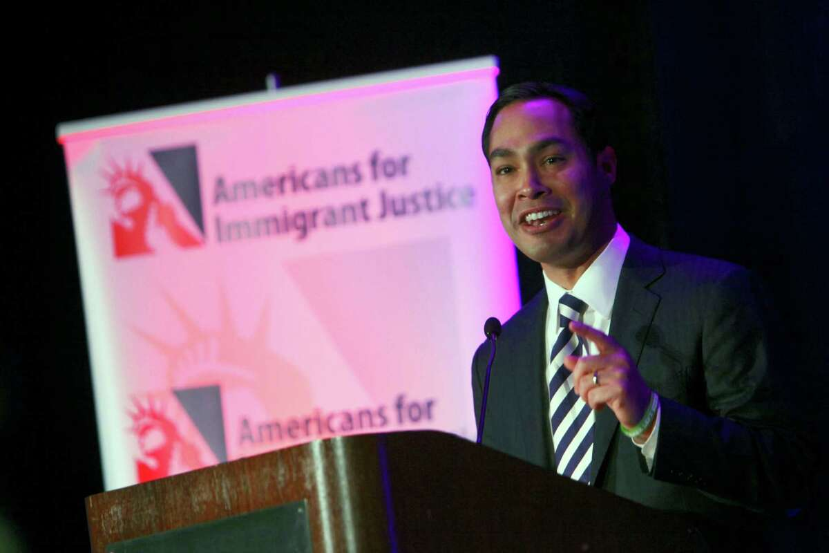 San Antonio Mayor Julian Castro delivers the keynote address at the Americans for Immigrant Justice annual meeting at the Hotel Intercontinental in Miami, Florida, on Thursday, March 7, 2013.
