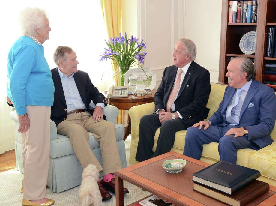 "George H.W. Bush, Barbara Bush, former Canadian PM Brian Mulroney, and mutual friend Jose ""Pepe"" Fanjul talk before lunch in College Station, March 7, 2013. This is the President's second trip there in a week. Photo: George Bush Presidential Library Foundation"
