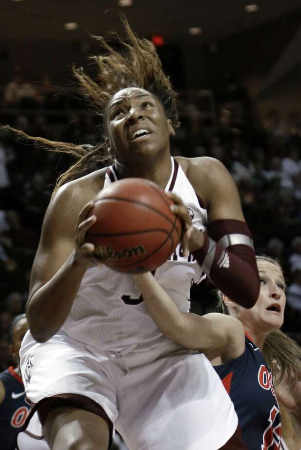 A&M's Kelsey Bone will try to help her team break a three-game losing streak today. Photo: Pat Sullivan / Associated Press