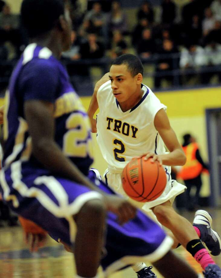 Troy's Jordan Nelson (2) drives up court during their basketball game against Christian Brothers Academy on Friday, Dec. 21, 2012, at Troy High in Troy, N.Y. (Cindy Schultz / Times Union) Photo: Cindy Schultz / 00020521A