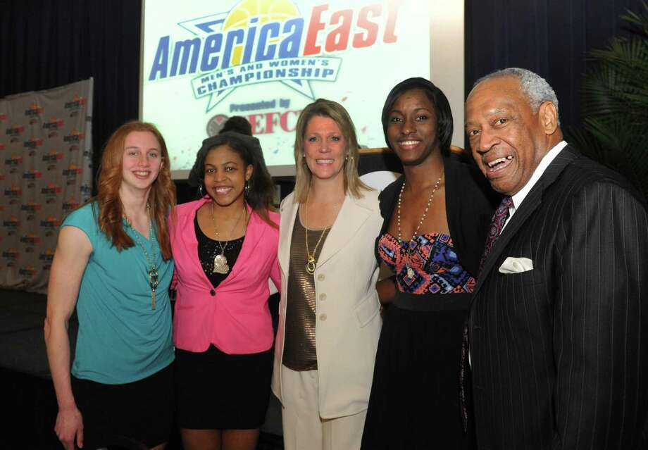 UAlbany award winners Julie Forster, Ebone Henry, head coach Katie Abrahamson-Henderson, Shereesha Richards with Lee McElroy Director of Athletics during the America East women's basketball award presentation on Thursday March 7, 2013 in Albany, N.Y. (Michael P. Farrell/Times Union) Photo: Michael P. Farrell