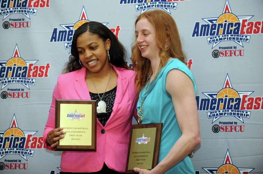 UAlbany award All-Conference First Team winners Ebone Henry and  Julie Forster during the America East women's basketball award presentationon on Thursday March 7, 2013 in Albany, N.Y. (Michael P. Farrell/Times Union) Photo: Michael P. Farrell