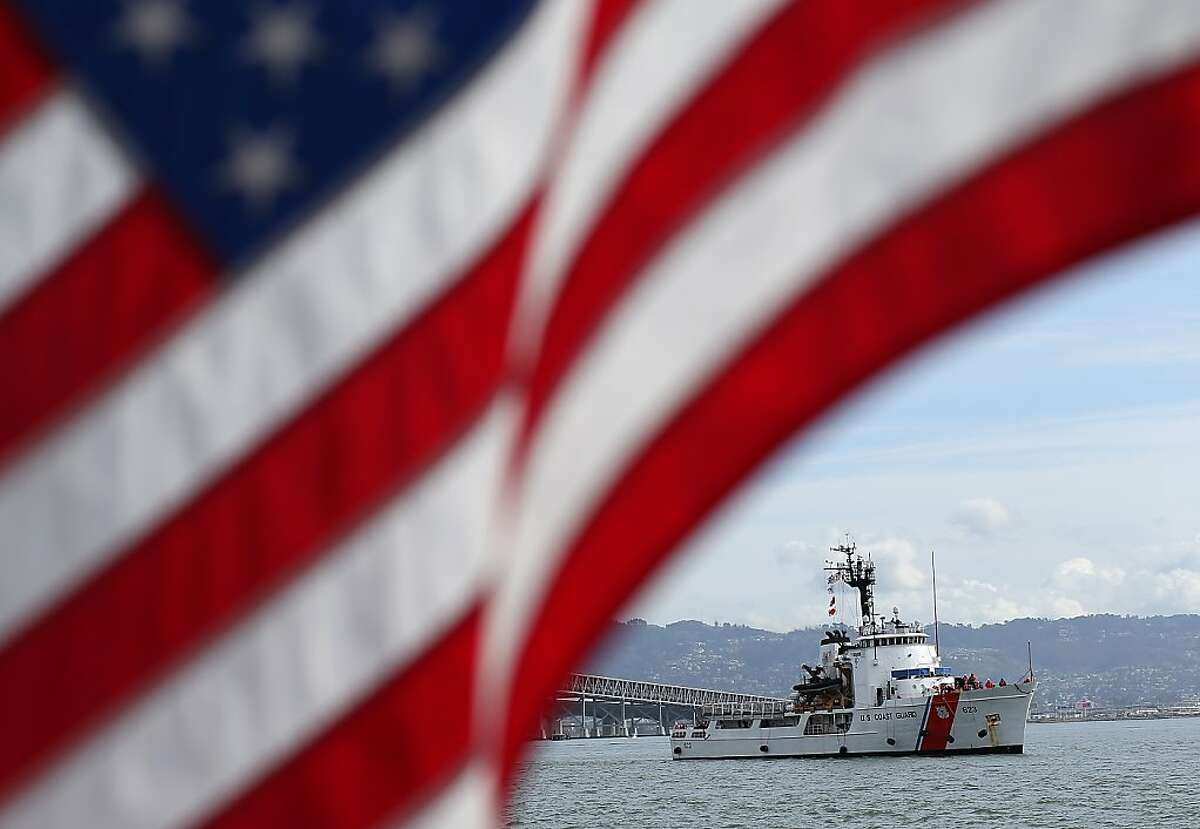 In this file photo, the U.S. Coast Guard cutter Steadfast navigates San Francisco Bay. An 87-foot Coast Guard patrol boat intercepted a suspicious sailboat that fled from the Sausalito area Sunday, taking the captain into custody.