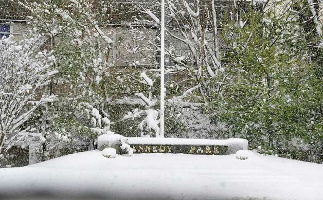 This is Danbury's Kennedy Park during Friday morning's snow, in Conn. March 8, 2013. Photo: Michael Duffy / The News-Times