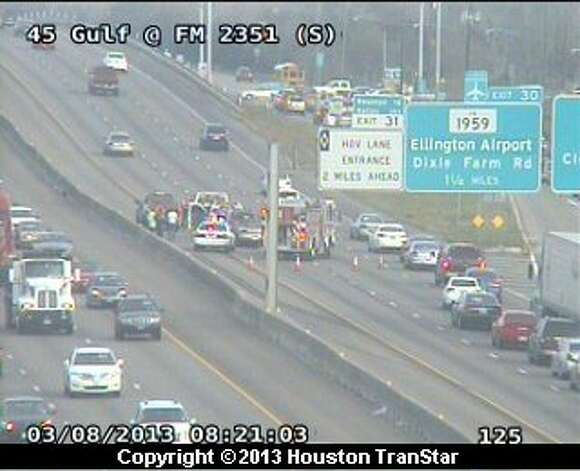 A crash on the Gulf Freeway near Clear Lake City Blvd. caused headaches for drivers during rush hour Friday morning. Photo: Houston Transtar