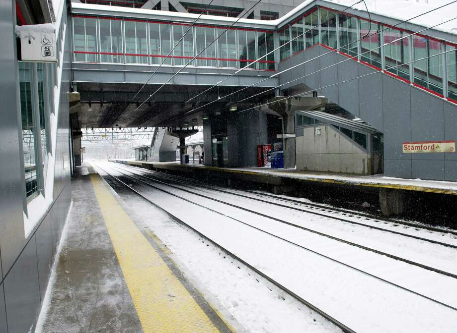 Trains coming into Stamford's train station were running on a short delay due to weather on Friday, March 8, 2013. Photo: Lindsay Perry / Stamford Advocate