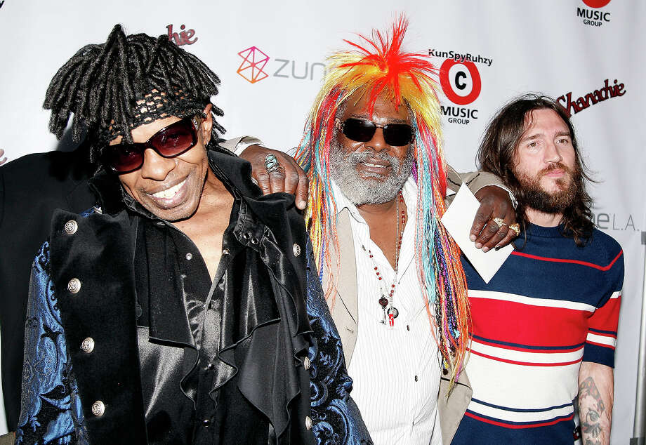 Musician's Sly Stone, left, George Clinton and John Frusciante appear at Clinton's 67th birthday party at Zune on July 22, 2008 in Los Angeles. Photo: Kevin Winter, Getty Images / 2008 Getty Images