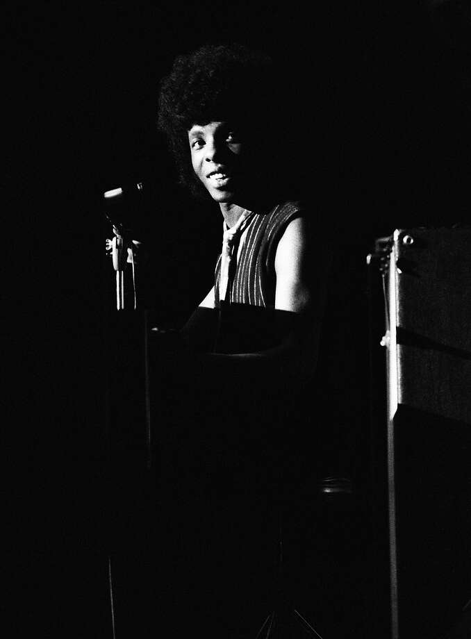 Singer Sly Stone of the psychedelic soul group 'Sly & The Family Stone' plays piano onstage in circa 1969. Photo: Tom Copi, Getty Images / Michael Ochs Archives