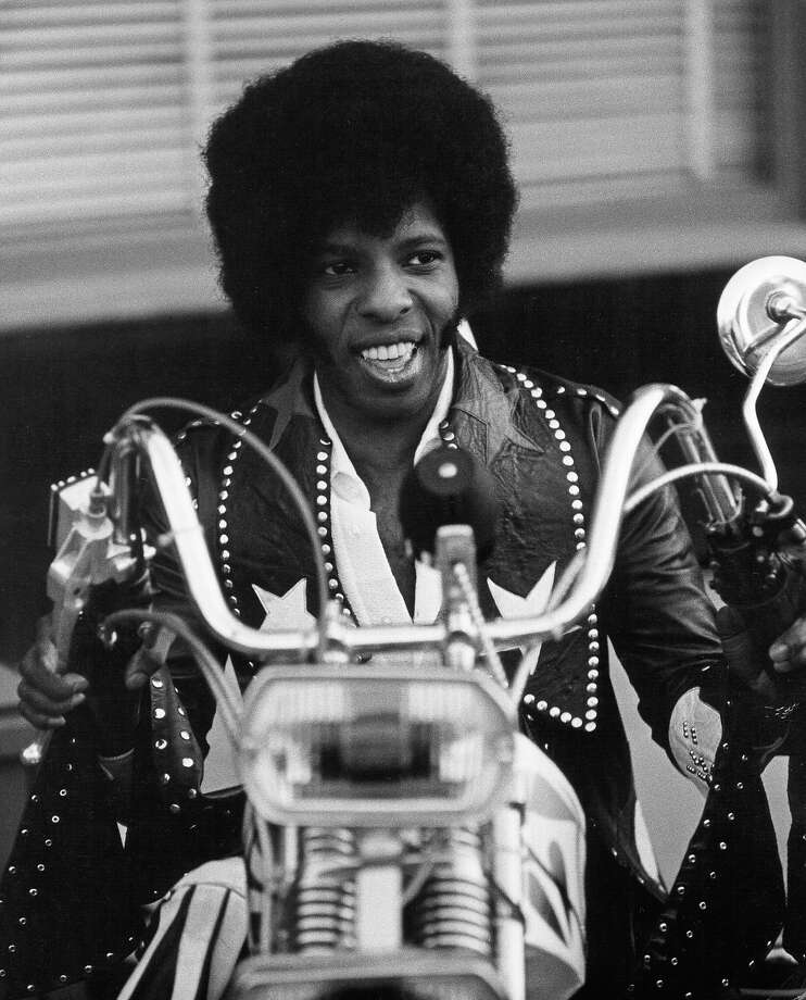 Sly Stone on his chopper in 1973 in San Francisco. Photo: Michael Ochs Archives, Getty Images / Michael Ochs Archives