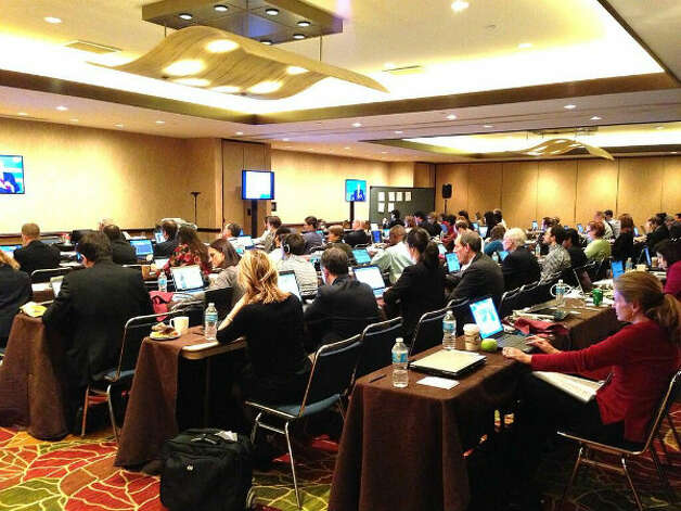 Looking back: A view of the IHS CERAWeek press room during its peak on Wednesday.
