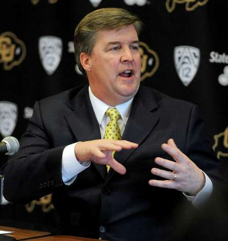 2330 x 2469~~$~~Colorado head coach Mike MacIntyre talks about his first recruiting class on signing day during an NCAA college football news conference, Wednesday, Feb. 6, 2013, in Boulder, Colo. (AP Photo/The Daily Camera, Cliff Grassmick) NO SALES; MAGS OUT; TV OUT Photo: Cliff Grassmick, AP / The Daily Camera