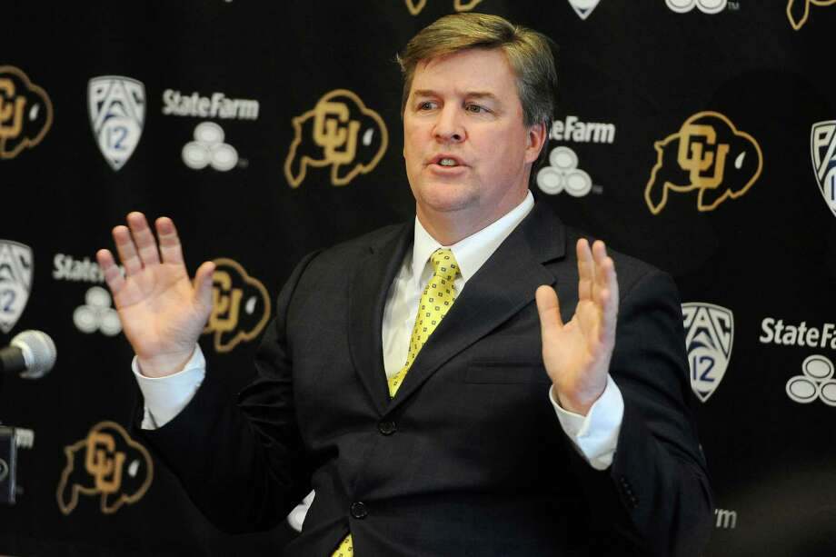 Colorado head coach Mike MacIntyre talks about his first recruiting class on signing day during an NCAA college football news conference, Wednesday, Feb. 6, 2013, in Boulder, Colo. (AP Photo/The Daily Camera, Cliff Grassmick) NO SALES; MAGS OUT; TV OUT Photo: Cliff Grassmick, Associated Press / The Daily Camera