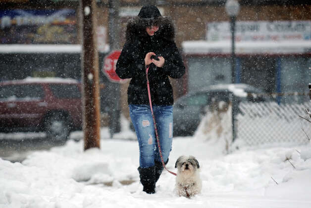 Katrina Bazileva texts as she walks her dog, Lexy, in the snow on Beardsley Park Terrace, in Bridgeport, Conn., March 18th, 2013. Photo: Ned Gerard / Connecticut Post