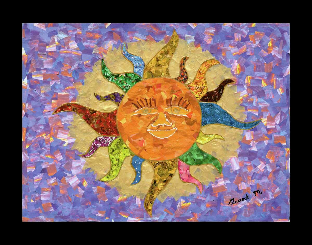 """""""Sun God"""" collage by Grant Manier, a 17-year-old autistic artist from the Houston area."""