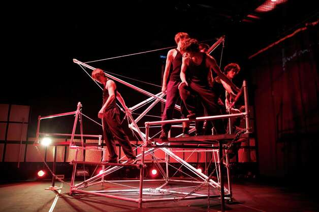 "Members of Ilium Parkour perform on The Machine in ""The Machine Starts"" at EMPAC in Troy. (Courtesy Michael Oatman)"
