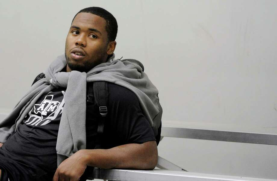 Texas A&M's Jonathan Stewart relaxes after work outs for NFL scouts Friday, March 8, 2013 in College Station, Texas. (AP Photo/Pat Sullivan) Photo: Pat Sullivan, Associated Press / AP