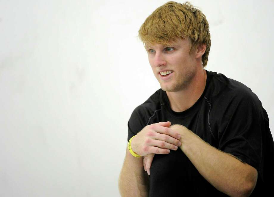 Texas A&M's Ryan Swope relaxes after work outs for NFL scouts Friday, March 8, 2013 in College Station, Texas. (AP Photo/Pat Sullivan) Photo: Pat Sullivan, Associated Press / AP