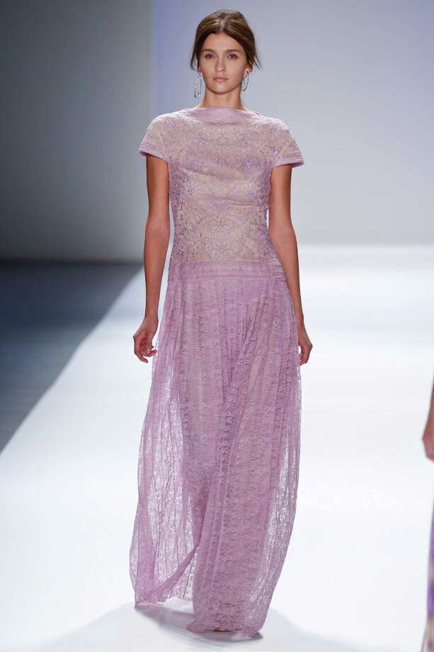 A model walks the runway during the Tadashi Shoji show during Spring 2013 Mercedes-Benz Fashion Week at The Stage Lincoln Center on September 6, 2012 in New York City. Photo: Thomas Concordia, WireImage / 2012 Thomas Concordia