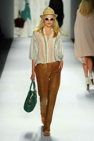 A model walks the runway at the Rachel Zoe Spring 2013 fashion show during Mercedes-Benz Fashion Week at The Studio Lincoln Center on September 12, 2012 in New York City. Photo: Frazer Harrison, Getty Images For Mercedes-Benz / 2012 Getty Images
