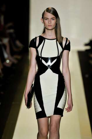 A model walks the runway at the Herve Leger by Max Azria Spring Summer 2013 fashion show during New York Fashion Week on September 8, 2012 in New York, United States. Photo: Chris Moore/Catwalking, Getty Images / 2012 Catwalking