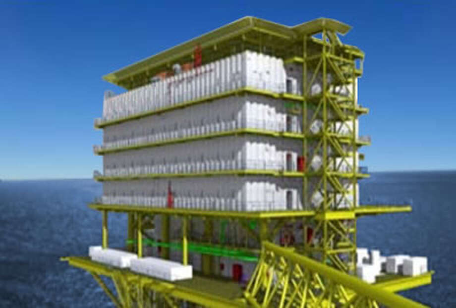 Artists rendering of the habitation module, on the $78 million PEMEX deep sea oil rig. Hubbell Heaters is providing the hot water system for the module where oil rig workers will live. Photo: Contributed Photo